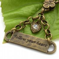 Follow your heart stamped affirmation bag charm