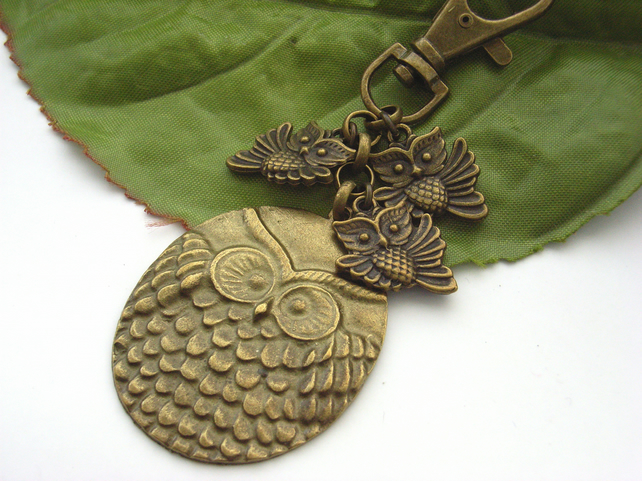 Four owls bag charm