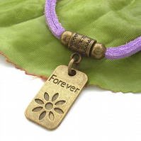 Forever stamped tag charm cord bracelet