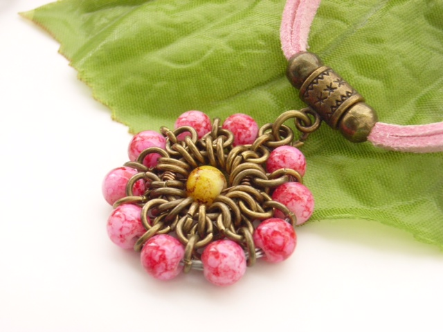 Pink chainmaille flower necklace