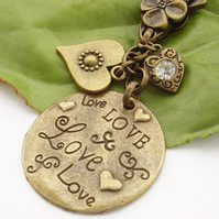 Love stamped word tag bag or purse charm
