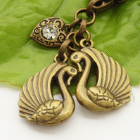 Swans handbag, bag or purse charm