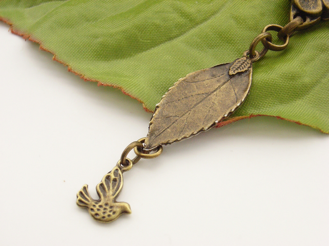 Leaf and bird bag charm