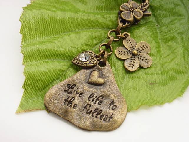 Live life to the fullest affirmation word stamped vintage bag charm
