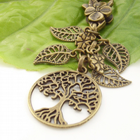 Tree of life and leaves vintage style bag charm