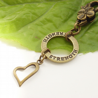 Strength and heart vintage style bag charm
