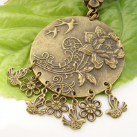 Flower and bird vintage style bag charm