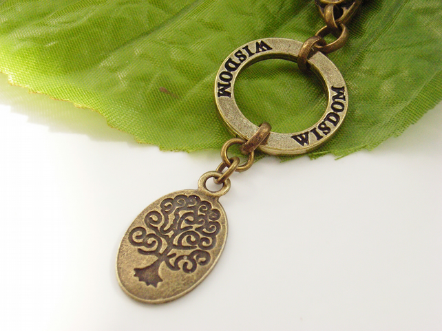 Wisdom and tree of life bag charm