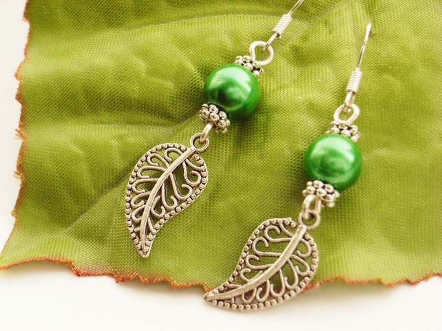 Green faux pearl leaf charm earrings with sterling silver ear wires