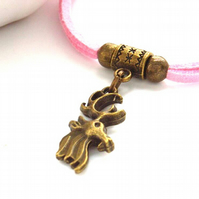 Rustic friendship bracelet cord with deer charm
