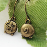 Pig charm earrings animal farm rustic cheeky