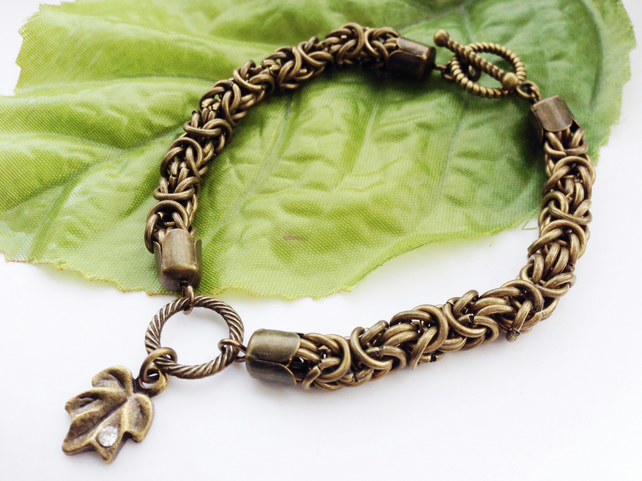 Byzantine chainmaille bracelet with crystal leaf charm