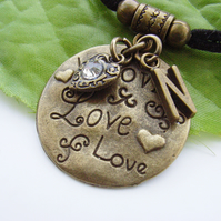 Love and hearts personalised initial charm necklace