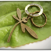 Stamped happiness dragonfly key ring in vintage bronze