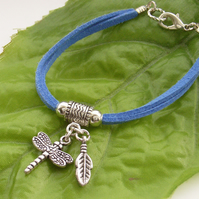 Dragonfly and feather charm bracelet on blue  faux suede cord