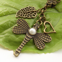 Pearl dragonfly and leaf bag charm