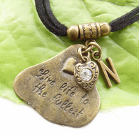 Stamped personalised initial affirmation charm necklace Live life to the fullest