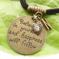 Believe in yourself personalised stamped charm necklace