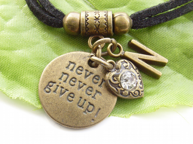 Words stamped personalised initial necklace Never never give up