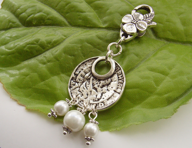 Silver tone etched disc bag, handbag or purse charm ivory faux pearls