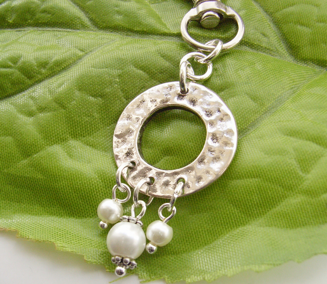 Silver tone open textured disc bag, handbag or purse charm with pearl beads