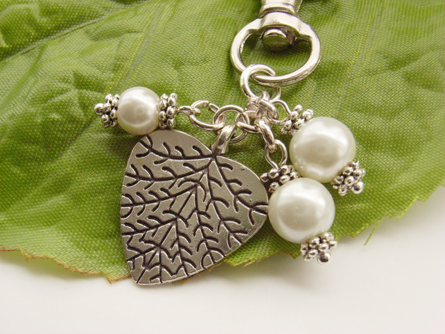 Leaf heart silver tone bag, handbag or purse charm with faux pearls