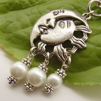 Sun and moon silver tone bag, handbag or purse charm with faux pearl beads