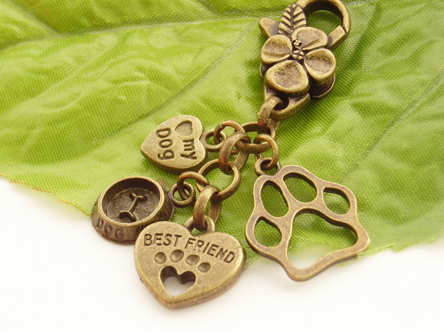 Love of dogs best friend paw bag or purse charm