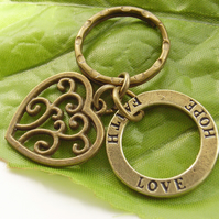 Love, hope, faith stamped motto charm with heart and keyring