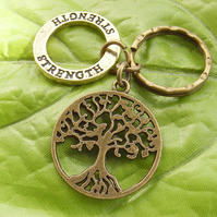 Tree of life and strength stamped motto Keyring