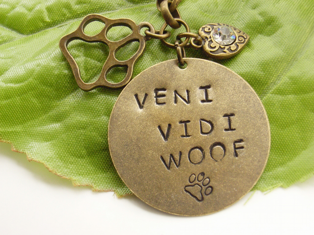 Hand stamped word dog pet bag or purse charm I came I saw I barked