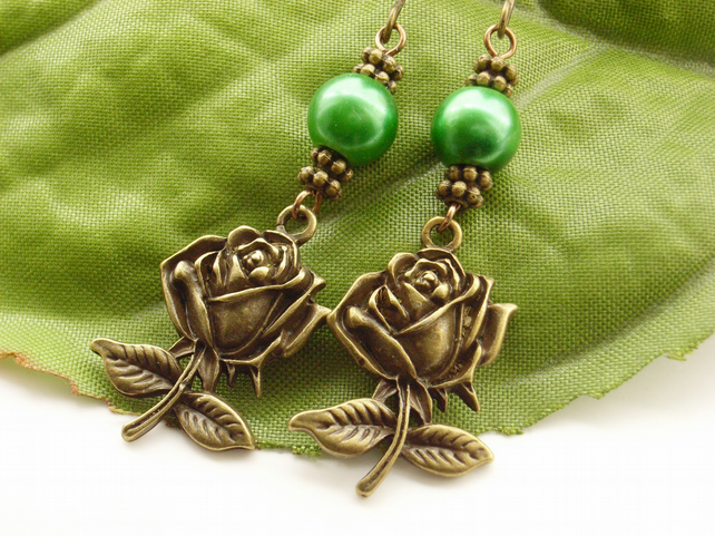 Rose charm earrings with green faux pearl beads