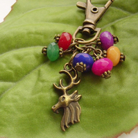 Stag and rainbow Quartz beads accessory bag charm