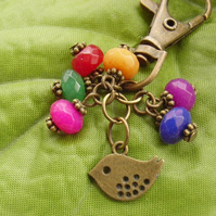 Little bird vintage style Bag charm with red green blue yellow rainbow beads