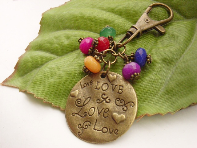 Lots of love stamped word charm