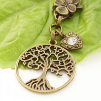 Crystal heart charm tree of life symbol