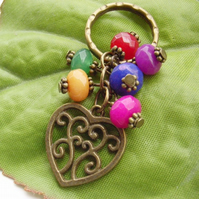 Heart charm coloured bead key ring