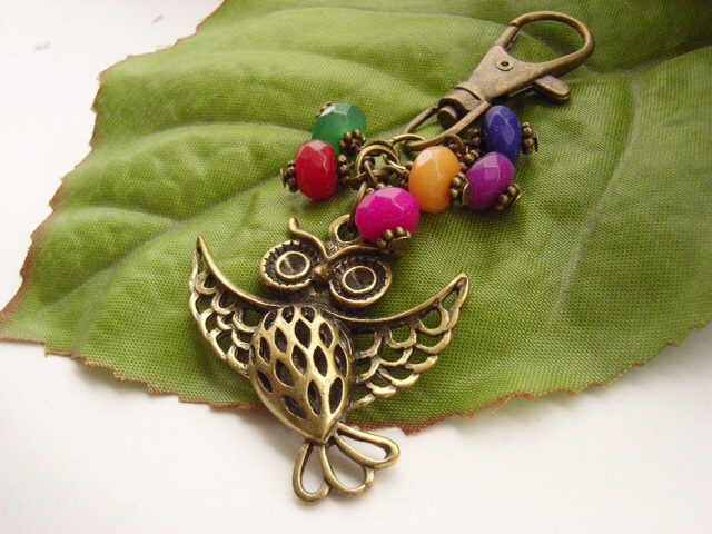 Vintage style bag charm with flying owl