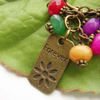 Forever charm Keyring with glass beads
