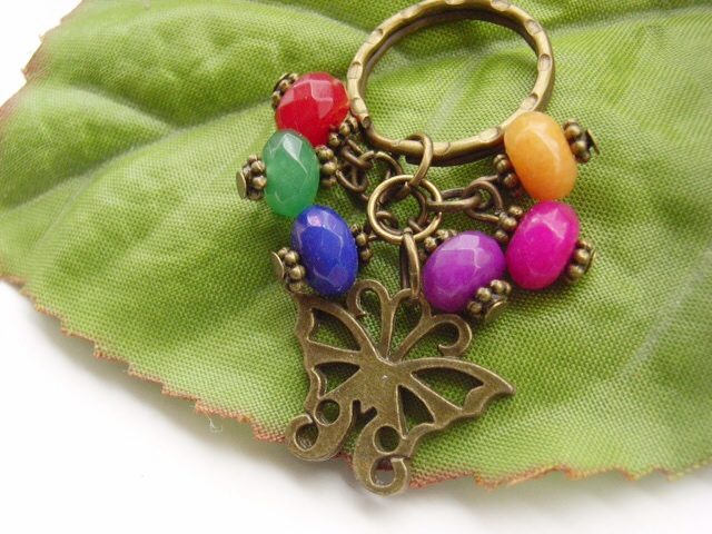 Art Deco Butterfly charm Keyring with glass beads