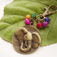 Large elephant head beaded gift charm