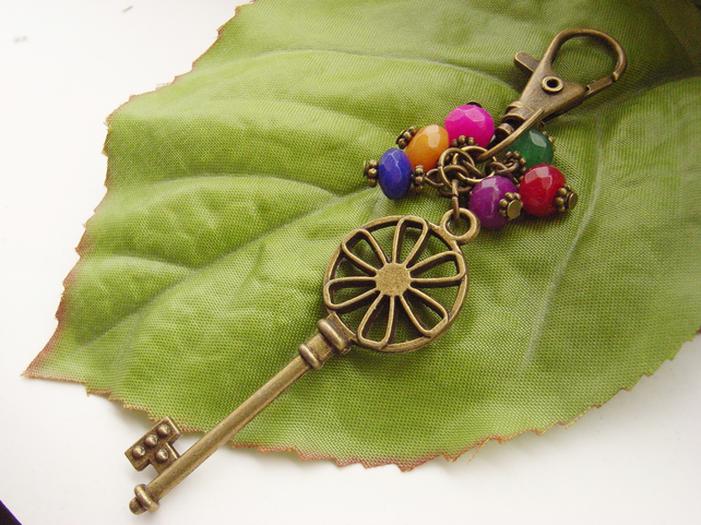 Steampunk Victoriana key vintage style bag charm red green blue yellow beads