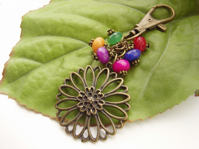 Filigree flower charm with glass beads