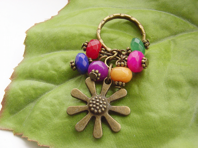 Flower charm Keyring with glass beads