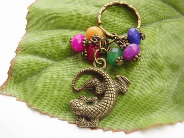 Lizard gecko Keyring with glass beads