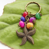 Starfish Keyring with glass beads