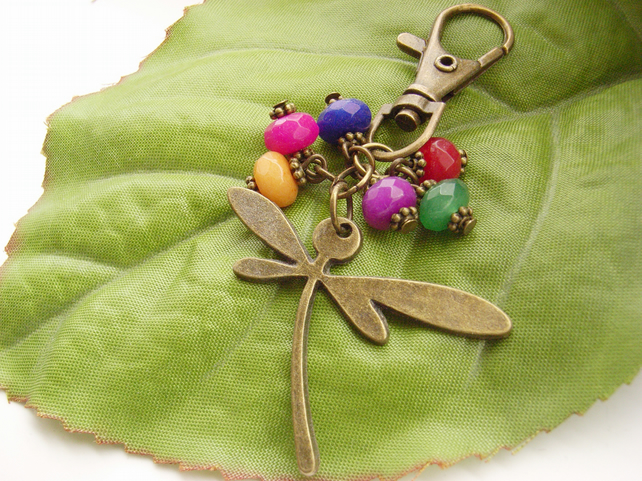 Dragonfly handbag or purse charm with beads