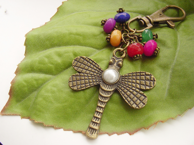 Art Deco style textured dragonfly beaded bag charm