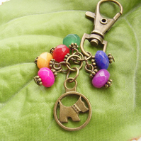 Scottie dog vintage style Bag charm with red green blue yellow rainbow beads