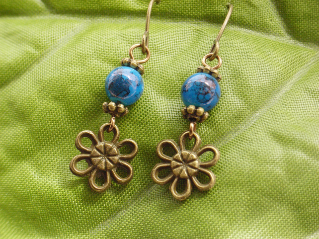 Glass bead flower charm earrings dark blue